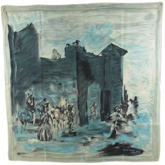 1950s Jeanne Lanvin silk scarf designed by Castillo | From a collection of rare vintage scarves at https://www.1stdibs.com/fashion/accessories/scarves/