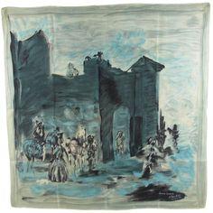 1950s Jeanne Lanvin silk scarf designed by Castillo