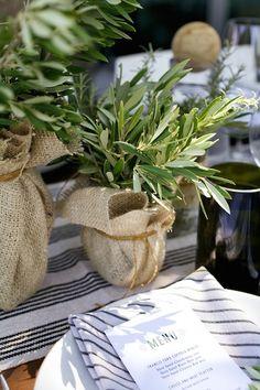 DIY Olive Branch + Burlap Centerpiece