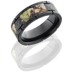 8mm mossy oak black zirconium camo ring with panels - Mossy Oak Wedding Rings