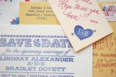 DIY Tutorial: Rubber Stamp Airmail Save the Date by Antiquaria via Oh So Beautiful Paper