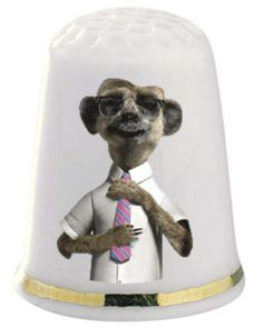 Sergei The Meerkat Thimble - The Thimble Guild has everything from limited editions, novelty thimbles, china thimbles, wooden thimbles and p...