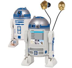 """The droid nobody was looking for: an R2D2 MP4 player"".      The C3PO heads! The heads! In your ears!"