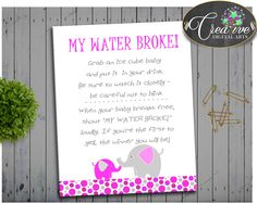 Pink Elephant MY WATER BROKE baby shower girl game in dots and elephant magenta pink theme, Digital Files Jpg Pdf, instant download - ep001 #babyshowergifts #babyshowerideas