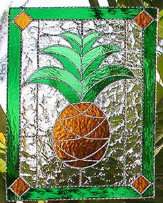 Tropical Pineapple Stained Glass Suncatcher by StainedGlassDelight, $54.95