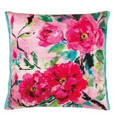 Chinese Peony Fuchsia Throw Pillow | Designers Guild