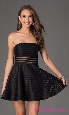 Short Striped Black Dress at PromGirl.com