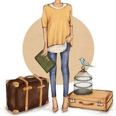 Viajes  Digital Download  ilustración de moda por StyleOfBrush