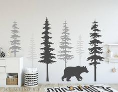 Nursery Wall Decals Pine Tree Wall Decals With Large Bear Wall Decal Wall Mural Stickers Nursery Tree Art Nature Wall Decals Scandinavian - Kinderzimmer ideen Kids Room Wall Decals, Nursery Wall Stickers, Wall Murals, Kids Stickers, Mural Art, Decals For Walls, Wall Art, Wall Decor, Tree Decals