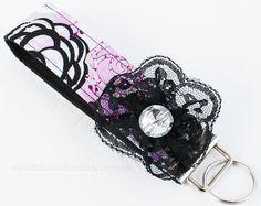 Purple Keychain , Purple Keyring , Fabric Keychain Fob , Wrislet Key Fob , Fabric Key Fob , Key chain , Key Chain ,  Landyard