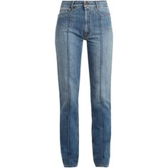 Maison Margiela High-rise rolled-seam straight-leg jeans (37.275 RUB) ❤ liked on Polyvore featuring jeans, blue, maison margiela, high waisted jeans, rolled up jeans, blue jeans and rolled jeans