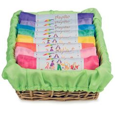 A basket of Play Silks is the quintessential Waldorf toy! Play silks are beautiful, they nourish the senses, and encourage endless hours of open-ended creative play, as unlimited as a child's imaginat Wooden Animals, Wooden Toys, Baby Toys, Kids Toys, Baby Play, Toys For 1 Year Old, Doll Carrier, Natural Toys, Natural Baby