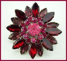 Vintage Judy Lee Brooch Pin Tiered Red Pink by BrightgemsTreasures, $34.50