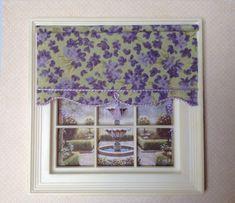 """Tea Stained Cream Fleur de Lis  3/"""" W by 1 1//2/"""" L Dollhouse Curtains Shade"""
