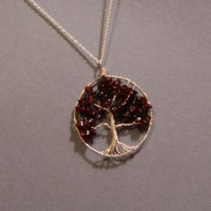 QuickSilver Creations' Wire-Wrapped Garnet Tree Necklace