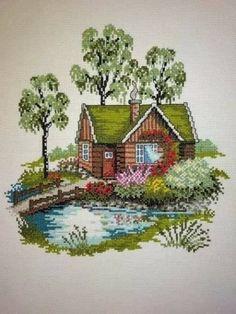 Cross Stitch House, Cross Stitch Tree, Cross Stitch Cards, Cross Stitch Flowers, Cross Stitching, Cross Stitch Embroidery, Cross Stitch Designs, Cross Stitch Patterns, Owl Quilt Pattern