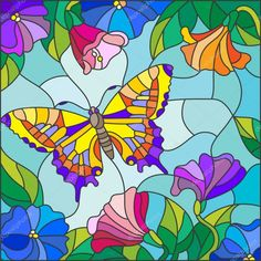 stained glass butterflies illustration in stained glass style with bright butterfly against the sky foliage and flowers stained glass butterfly window ornament Stained Glass Quilt, Stained Glass Flowers, Faux Stained Glass, Stained Glass Designs, Stained Glass Projects, Stained Glass Patterns, Illustration Papillon, Butterfly Illustration, Arte Pop