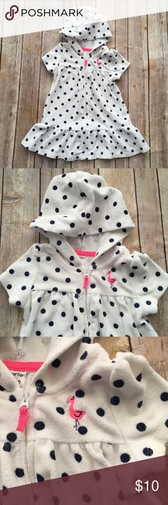 Carter's Terrycloth Hooded Cover up Adorable white terrycloth hooded zip up beach bathing suit coverup. Navy blue polka dots with a bright pink flamingo. Size 12 months Carter's Swim Coverups