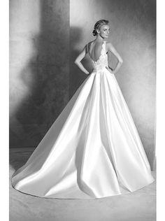 Fashion Illusion Natural Train Satin Ivory Sleeveless Wedding Dress with Ribbons LWAT1501E #weddingdress #landybridal