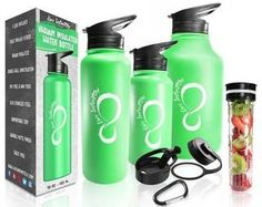 Live Infinitely Double Walled Vacuum Insulated Water Bottles 40 or Food Safe Stainless Steel- Includes Flip Top & Wide Mouth Lid, Removable Fruit Infusion Rod & Carabiner-For Hot & Cold Green Water Bottle, Infused Water Bottle, Water Bottles, Drink More Water, Insulated Water Bottle, Water Recipes, Stainless Steel Water Bottle, Allrecipes, Free Food