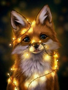 Animal Drawings Fairy Lights, an art print by Johanna Tarkela - INPRNT - This is a gallery-quality giclée art print on cotton rag archival paper, printed with archival inks. Cute Funny Animals, Cute Baby Animals, Animals And Pets, Wild Animals, Funny Dogs, Pet Anime, Anime Animals, Animal Pictures, Cute Pictures
