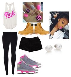 Jordans or Timberlands by rodnesha11 on Polyvore featuring Scoop, T By Alexander Wang, Timberland, Mikimoto and NIKE