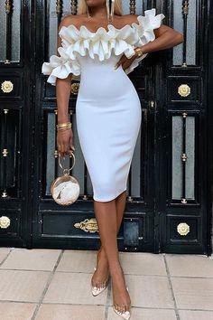 Off Shoulder Women's Bodycon Dress Long prom dress tea length dress - - Off Shoulder Women's Bodycon Dress Long prom dress Classy Dress, Classy Outfits, Chic Outfits, Dress Outfits, Summer Outfits, Summer Dresses, Elegant Dresses For Women, Pretty Dresses, Beautiful Dresses