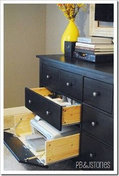 Ikea Hemnes dresser hack, rollout printer drawer with hinged drop drawer front.