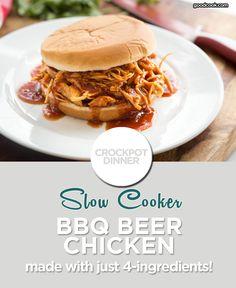 4-Ingredient Slow Cooker BBQ Beer Chicken