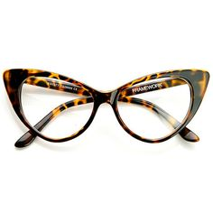 1950s Vintage Mod Fashion Cat Eye Clear Lens Glasses 8435