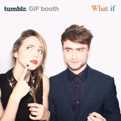 "Zoe Kazan and Daniel Radcliff, co-stars in the new film, ""What If,"" turn into very cute bunnies in this Bosco GIF! At the ""What If Fan Screening."""