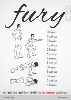 Some quick no equipment workouts that helped me. I haven't seen them in a long time so here you go. The rest can be found here: http://neilarey.com/workouts.html - Imgur