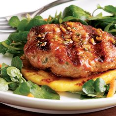 Sesame-Ginger Pork Patty with Grilled Pineapple via Delish