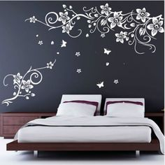 Fuloon Butterfly Vine Flower Wall Art Stickers Red / White / Black (White (right)) by Fuloon. $17.35. Direction:right direction /left direction. High quality sheets are used. Decal finish size:Large 180*120CM. Colour:red/black/white. No glue or painting needed. Product Description This sticker is easy to apply and cost effective to change room feeling. Easy to  remove after, without leaving a residue. Perfect on show window or wall or any  smooth surface. please see t...