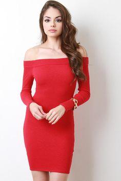 c701984c8d64 Ribbed Knit Bardot Long Sleeve Bodycon Dress Shoulder Dress, Mini Dresses,  Casual Dresses,