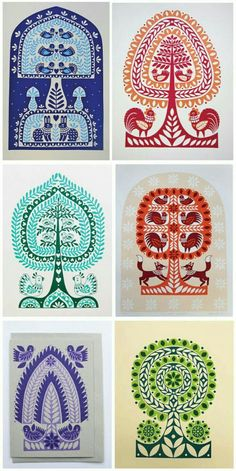 This awesome series of folk art inspired designs was created using drawing, painting, silk screen printing and Japanese Gocco printing Pattern Drawing, Pattern Art, Pattern Design, Folk Embroidery, Embroidery Designs, Indian Embroidery, Embroidery Stitches, Polish Folk Art, Frida Art