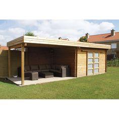 abri de jardin a toit plat avec auvent terrasse | Home outside ...