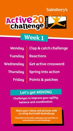This is Week 1 of the Sainsbury's Active Kids 'Active20 Challenge'. 20 days of fun and inspirational activities to keep your kids healthy. Day 1 - Clap & catch challenge Day 2 - Reactions Day 3 - Get Active Crossword Challenge Day 4 - Spring into Action Day 5 - Points and Patches Let us know how your kids get on by sharing on Instagram with #Active20 #Sainsburys Spring Into Action, Get Moving, Sainsburys, Crossword, You Videos, Healthy Kids, Activities For Kids, Improve Yourself, Patches