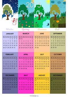 New York Web Design Studio, New York, NY: 2015 Calendar - Printable - 4 Seasons - A4 Paper S...