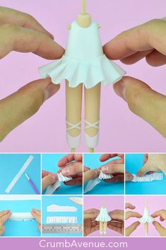 How to make a tutu :) - The photos come from the 'Ballerina' tutorial which is available in my Etsy Shop 🙂 / fondant, - Cake Topper Tutorial, Fondant Tutorial, Tutu Tutorial, How To Make Tutu, Ballerina Cakes, Fondant Animals, Fondant Toppers, Fondant Bow, Fondant Cupcakes