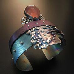 Star Rose Quartz, Titanium and Argentium Silver Cuff. #silversmith #metalsmith #riojeweler #jewelrydesign #handmadejewelry #artisanjewelry #jewelry #cuffs #bracelets #instajewelry