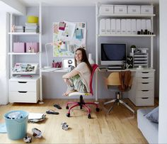His and Hers (or craft and office) IKEA work spaces in one tiny flat. Shopping list here: http://www.ikeafamilylivemagazine.com/ie/en/article/36464