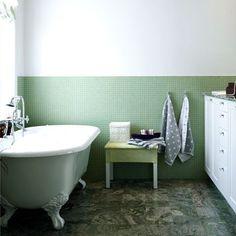 Bathroom: Green tiles