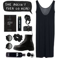 blk by child-of-the-tropics on Polyvore featuring Dr. Martens, Adia Kibur, American Apparel, Bobbi Brown Cosmetics, ...Lost, The Row and Nikon