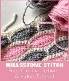 Crochet Stitches For Beginners Millstone Stitch - Free Pattern Crochet Baby, Free Crochet, Knit Crochet, Crochet Stitches Patterns, Stitch Patterns, Unique Crochet Stitches, Diy And Crafts Sewing, Crochet Videos, Crochet For Beginners