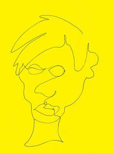 Andy Warhol Line Drawing, Self Portrait. Pop Art.