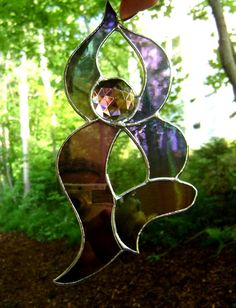 Yoga Goddess Stained Glass Suncatcher Woman by GothicGlassStudio