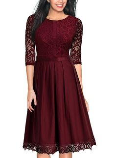 This simply elegant short dress features a 3/4 sleeve round neckline. A-line retro style perfect for casual or any special occasion. Fabric : Cotton Closure : Zipper Back Sleeve Style : 3/4 Sleeve Length : Knee Length Colors : Navy, Wine Red, Green Sizes : S, M, L, XL, 2XL Fully Lined Soft Cup Inserts Occasion : Formal, Cocktail, Birthday, Casual, Church