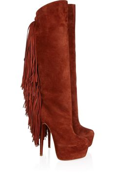 Christian LouboutinInterlopa 165 fringed suede knee bootsfront