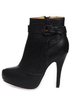 Black Leatherette Chunky Heel Ankle Boots Shoes S005828,  Shoes, Black Leatherette Chunky Heel Ankle Boots, Chic